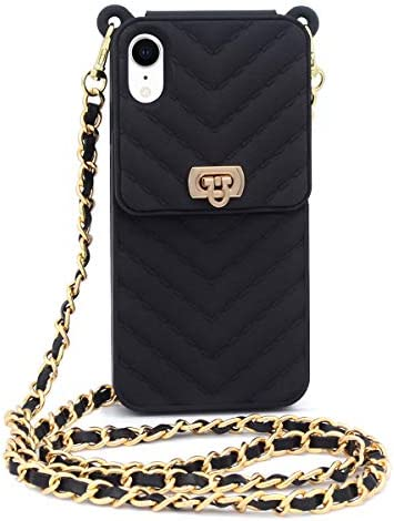 Fusicase for iPhone XR Wallet Case with Neck Strap Crossbody Chain Credit Card Holder Slot with product image