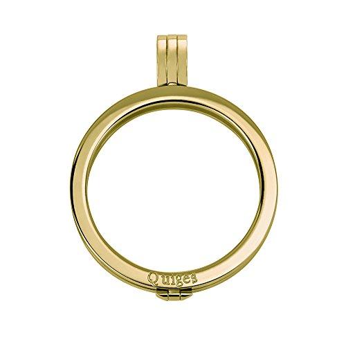 Quiges Vergoldet Edelstahl Auswechselbarer Coin Anhänger Münzfassung 33mm