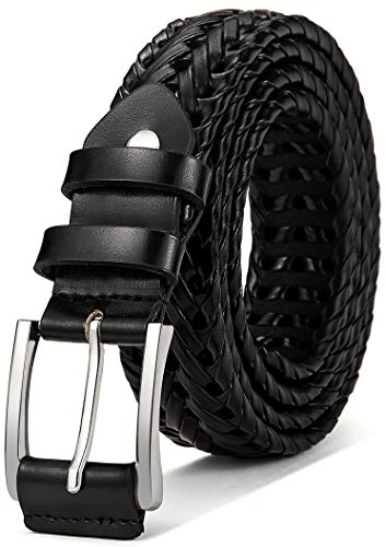 Mens Belts,Bulliant Leather Woven Braided Belts for Men Casual Jeans Golf,Anyfit,Gift Boxed Black Leather Woven Belt