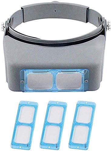 MGRLPYE Diadema Lupa Visor Lente Doble 1.5X 2X 2.5X 3.5X Ampliación Lupa Montada En La Cabeza Joyeros Visor De Joyería Opitcal Glass Binocular Magnifier con Lente