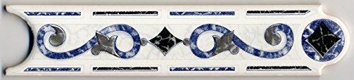 25 Stück Keramik Bordüre Endlosbordüre Borde PALMA BLAU/GRAU 5x20 cm / 0,5cm stark