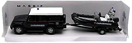 Mondo Motors - 53131carabi - Véhicule Miniature - Modèle À L'échelle - Iveco 4x4 avec Remorque Et Bateau - Carabinier - Echelle 1/43