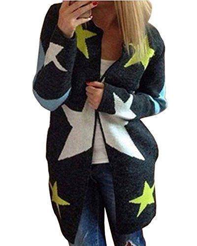 Minetom Damen Mode Sterne Strickjacke Sweatshirt Damen Strickjacke Sweatshirt Cardigan mit Sternendruck Schwarz One Size