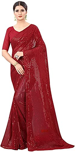 Indian Decor & Attire Bollywood Style Sarees Georgette with Heavy Sequence Work Saree with Unstitched Blouse for Party wear (Maroon)