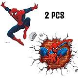 Kibi Stickers Muraux Spiderman 3D Effect Autocollants Chambre Decor Décoration Sticker Adhesif Mural Géant Répositionnable...