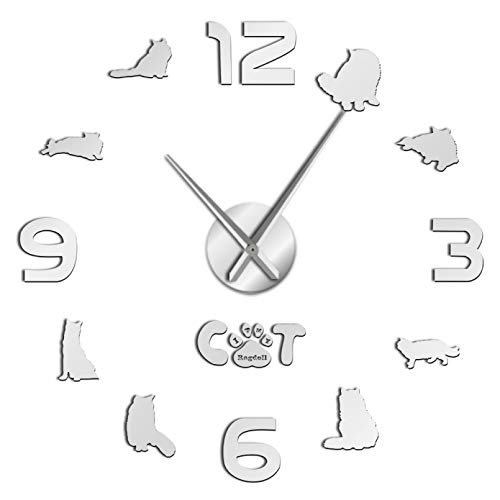YQMJLF Reloj Pared DIY 3D Grande Gato siamés Ragdoll Gato DIY Gran Reloj Pared silencioso sin Marco 3D Gato Silueta Pared Arte Espejo Pegatinas Ragdoll Amante Regalo Decor Navidad Regalo Plata