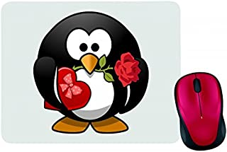 Alfombrilla para ratón, diseño de pingüino, animal, pájaro, fiesta, pralinés, flores, corazón, amor, matrimonio, rosa, tux...