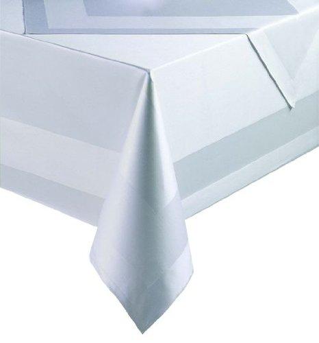 Damast Tischdecken Tischtuch Mitteldecken weiß mit Atlaskante 250x130 cm