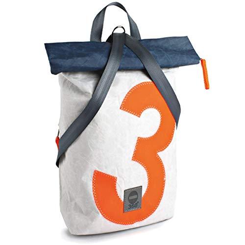 360° Grad Rucksack, Segeltuch-Tasche, Möwe Mini weiß mit Zahl in Neon Orange, Gurt grau, maritim, wetterfest