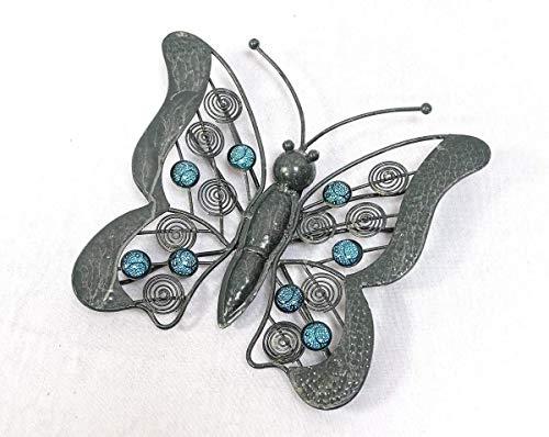 Linoows Décoration Murale Papillon Dans Style Campagnard, Petit Papillon, Métal Turquoise Pierres