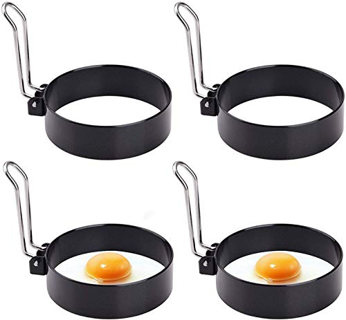 Egg Ring, Round Professional Pancake Mold, Egg Cooker Rings for Cooking, Stainless Steel Non Stick Round Egg Ring Mold for Fried Egg, Pancakes, Sandwiches 4PCS