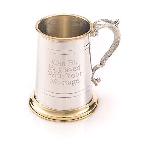 Engrave It Online Taza de Peltre y latón Personalizable, con asa de Georgia, de 1 Pinta, Grabado con Texto Personalizado
