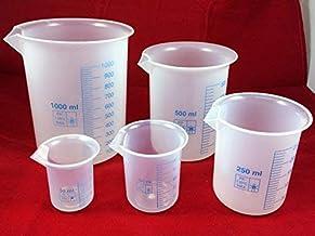 ست لیوان پلاستیکی ، اندازه گیری پلی پروپیلن گریفین فارغ التحصیل شده برای آزمایشگاه ، آزمایشات علمی - مجموعه 5 (50 ، 100 ، 250 ، 500 و 1000 میلی لیتر)