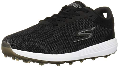 Skechers mens Max Golf Shoe, Black/White Textile, 13 Wide US