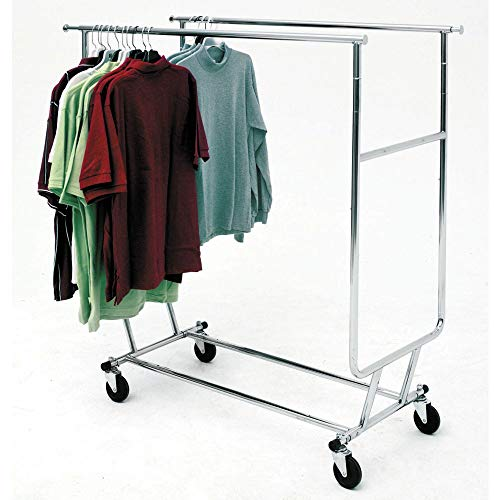 Econoco Double Hangrail Rolling Clothes Rack- Heavy Duty Collapsible Clothing Rack, Commercial Grade Clothing Display, Round Tubing Rolling Rack, Chrome