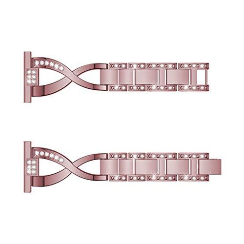 DALIANMAO Pulsera de 20 mm Rhinestone Activo Reloj de muñeca de Acero Inoxidable Correa (Band Color : Rose Pink, Band Width : 20mm)