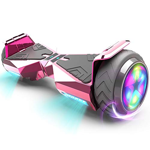 HOVERSTAR Hoverboard HS 2.0v Chrome Color Flash Wheel with LED Light Self Balancing Wheel Electric Scooter (Chrome Pink)