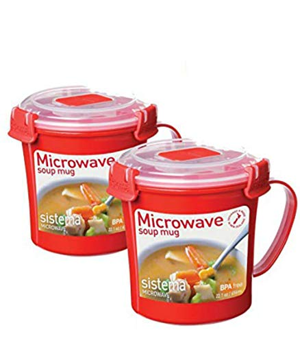 Sistema 656 ml Soup Mug, Colors may vary, 2 Pack