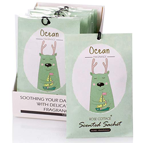 12Packs Ocean Closet Air Freshener Deodorizer Scented Sachets Bags for Drawer and Closet 16 Scents Optional-ROSE COTTAGE