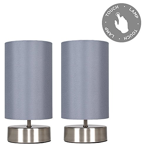 Pair of - Modern Brushed Chrome Touch Dimmer Bedside Table Lamps with Grey Cylinder Light Shades