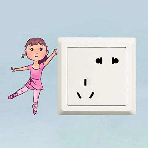YCEOT Bailarina Vector Interruptor Decoración Sala Estar Dormitorio Wal Etiqueta Color