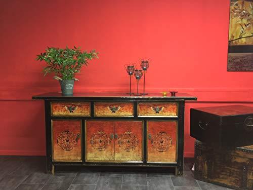 OPIUM OUTLET Aparador Comoda cajonera chifonier Salon Comedor Chino Antiguo Vintage Asiatico Shabby Naranja