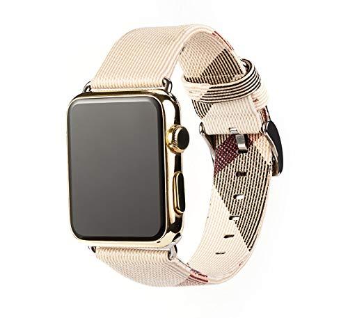 Myada Cinturino per Apple Watch 42mm Pelle, Cinturino Apple Watch Series 4 44mm Bracciale di Ricambio da Polso Band Sostituzione Fascia per iWatch Series 4/3/2/1 Sport Edition Donna -Strisce Bianche