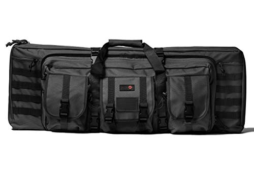 Double Rifle Bag   2 Rifles + 2 Pistols Tuckable Backpack Straps   COMBAT VETERAN OWNED COMPANY   Waterproof Padded Lockable Carbine or Long Gun Case (Tactical Black, 36