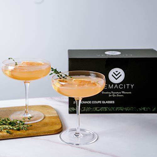 Elegant Coupe Cocktail Glasses-Set of 2 Handmade Crystal Bar Quality Champagne Glasses/Champagne...