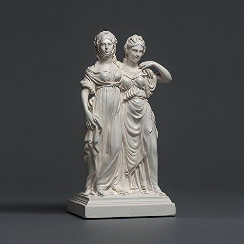 Prinzessinnengruppe Luise & Friedericke Skulptur aus hochwertigem Zellan, echte Handarbeit Made in Germany, Büste in weiß, 15cm