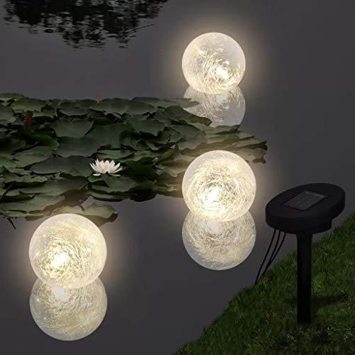 Wakects 3er LED Schwimmleuchte Solarkugel Kugelleuchte Solarlampe Schwimmende Lichter wasserdichte mit Erdspieß Kugeldurchmesser: 9,5 cm