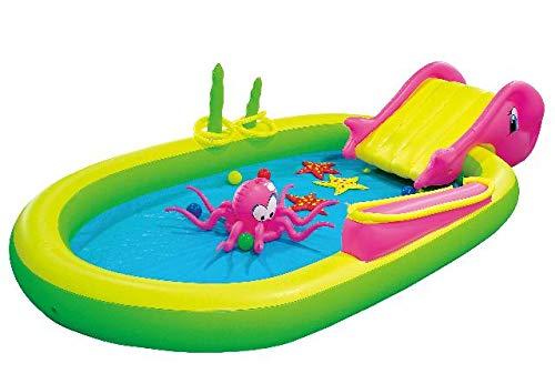 Jilong Sea Animal Pool 298x165x55 cm Kinderpool Planschbecken Kinder Schwimmbecken mit Rutsche Wassersprüher Wasserspritze mit Gartenschlauch-Anschluß und diversem Wasserspielzeug