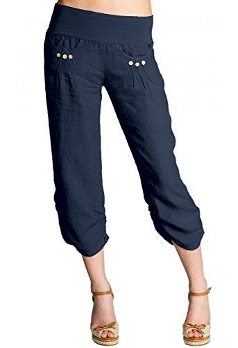 Caspar KHS017 Donna Pantaloni Capri di Lino, Colore:Blu Scuro, Dimensioni:3XL - DE46 UK18 IT50 US16