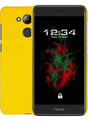 Baluum Hardcase gummierte gelbe Hülle für Huawei Honor 6c Pro Schutzhülle Hülle Cover Handyhülle Backcover Hartschale aus robusten Kunststoff (HC-G, gelb)