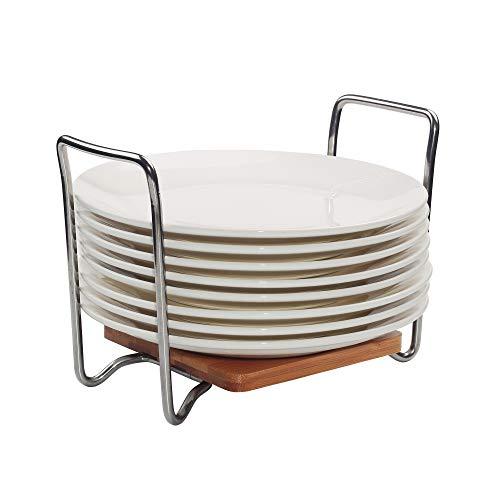 E-ROOM TREND - Organizador de Platos de tamaño Ajustable de 15 a 22 cm, Estante de bambú para Platos con Asas fáciles de Transportar SS304 para cajones de Cocina, armarios, estantes (A016)