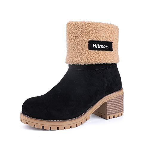 Botas Mujer Invierno Forradas Cálidas Botines Serraje Tacón Ancho Medio 6CM Plataforma Zapatos Nieve Cómodos Casual Negro EU 38