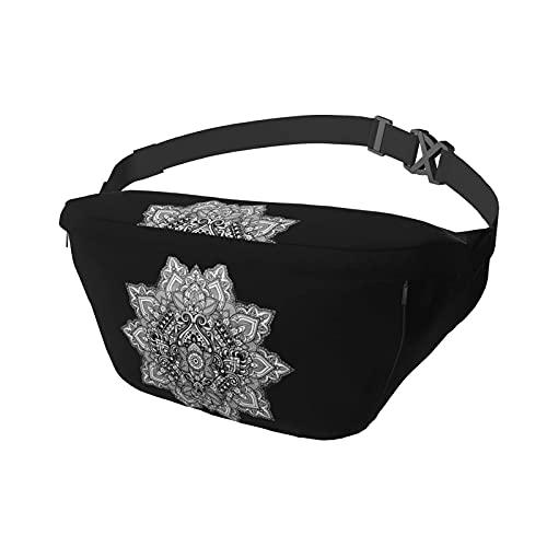 Riñonera Azteca Tribal Texturizado Ornamental Cosmos Floral Sling Bag Riñonera Crossbody Mochila de Hombro Casual Pecho Mochila Cintura Daypack