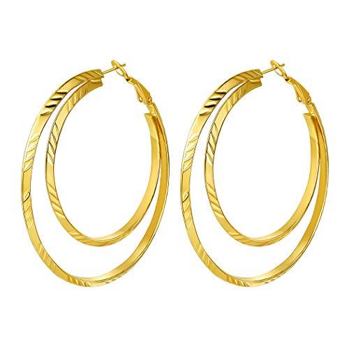 Suplight 18k vergoldet Ohrringe für Frauen Mädchen 60mm Groß Doppel Kreis Creolen Ohrringe Damen Geometrische Hoop Earrings Ohrpiercing Accessoire Schmuck Geschenk für Valentinstag