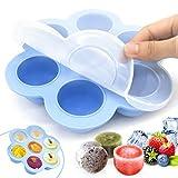 O-Kinee Eiswürfelform, Gefriertablett zum Einfrieren und Aufbewahren von Babynahrung/Babykost in Portionen und als Behälter für Babybrei mit Silikondeckel, Extra große Aufbewahrung (Blau)
