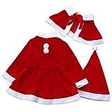 LANSKRLSP Costume da Babbo Natale Inverno 3 Pezzi Costume da Babbo Natale + Scialle + Vestito 1-6 Anni