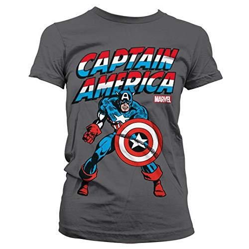 Captain america - Canotte - Logotipo - Basic - Collo a U - Donna Grau M