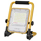 LOFTER 30W LED Work Light, 6000mAh Rechargeable Battery Powered LED Flood Light, IP66 Waterproof Job Site Lighting with Stand for Construction Site, Adjustable Working Lights with 6500K Daylight White