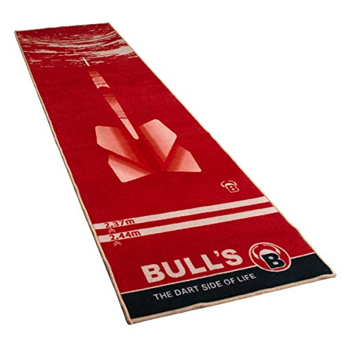 """BULL's Carpet Mat """"180"""" Red, rutschfester premium Dartteppich, umweltfreundliche Turnier Dartmatte aus Nylon und Gummi, offiziellem Abstand zum Dartboard 237cm, Schutz für Darts und Tips, 280 x 80cm"""