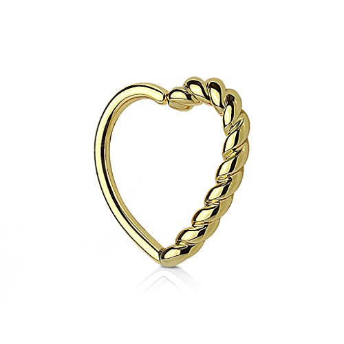 Kultpiercing - Helix Piercing - Herz mit Drehung - Tragus Ear Cartilage Ohrpiercing Daith Hoop Ring - Gold