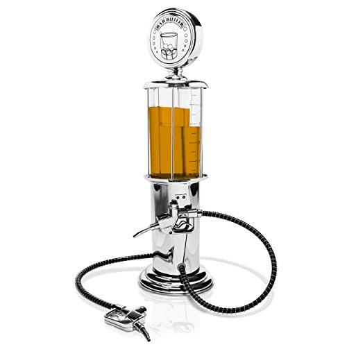Grinscard Getränkespender im Tanksäule Design - Silbern ca. 900 ml - Ausgefallene Zapfanlage für Hausbar und Partys