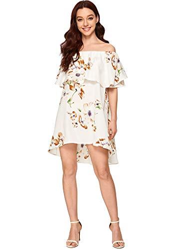 Romwe Women's Off The Shoulder Ruffle Casual Loose Shift Dress White Medium