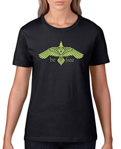 Comedy Shirts - T-shirt Be Free Adler V1 - Pour femme - Col rond - 100 % coton - Manches courtes - T-shirt basique imprimé. - Noir - XXXL
