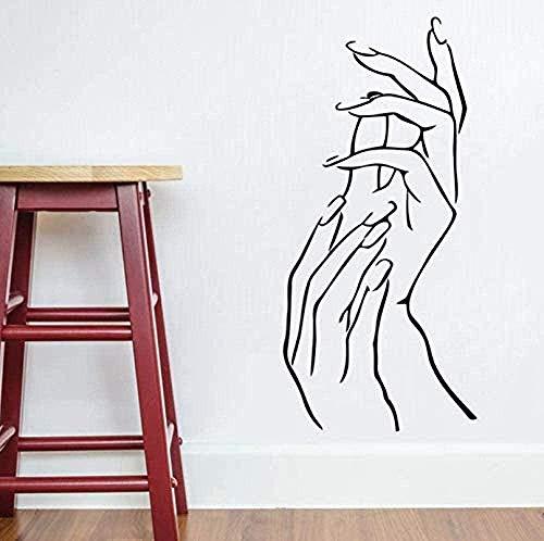 Stickers muraux Salon de beauté Décor Femme Femme Fille Mains Spa Manucure Décor Art Vinyle Autocollant Nail Salon Mur Art Mural 26X57 cm