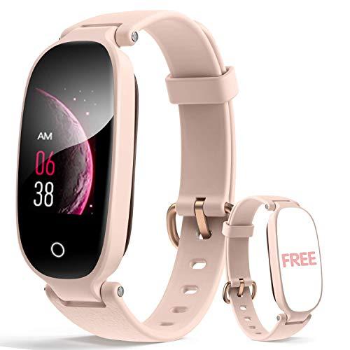 Fitness Armband Damen rosa Smartwatch Fitness Tracker mit Schlafmonitor, Wecker Wasserdichte IP67 Fitness Uhr Messgeräte Pulsuhr Schrittzähler Uhr für Damen SMS Beachten