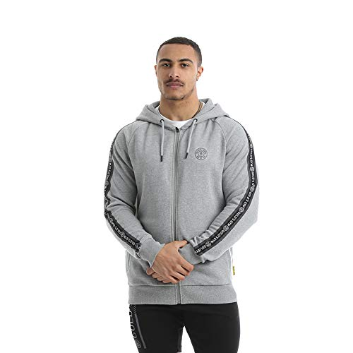 Gold's Gym 2019 Herren Full Zip Tape Hoodie Grey Marl Large